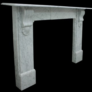 Reclaimed Victorian Carrara marble fireplace surround