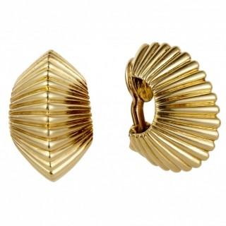Tiffany 18ct Yellow Gold Ribbed Hoop Earrings