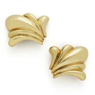 18ct  Yellow gold 'Plume' earclips