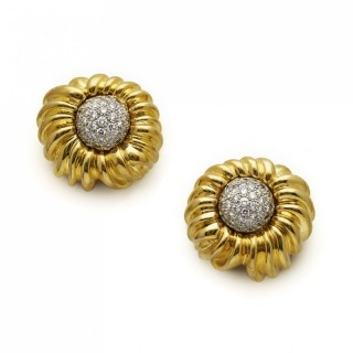Tiffany Pave Set Diamond and 18ct Yellow Gold Sunflower Earrings