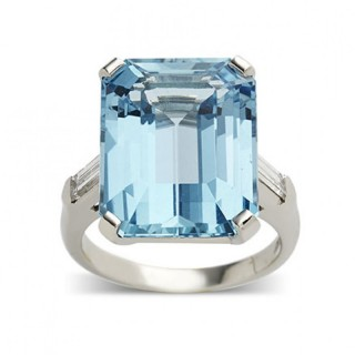 Emerald Cut Aquamarine and Baguette Diamond Ring