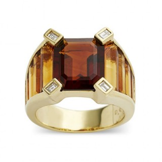 Emerald Cut Citrine, Baguette Cut Citrine and Diamond Ring