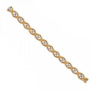 Diamond and 18ct Yellow Gold Rope Twist Bracelet