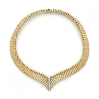 18ct Yellow Gold and Diamond Tubogas Necklace