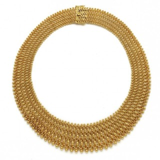 18ct Yellow Gold Graduated Woven Necklace