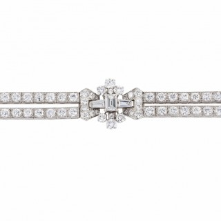 Oscar Heyman Brilliant Cut, Emerald Cut and Tapered Baguette Cut Diamond Bracelet