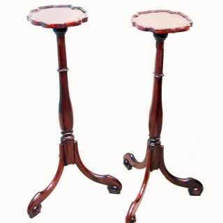 Antique Mahogany Pair Of Torchere Stands