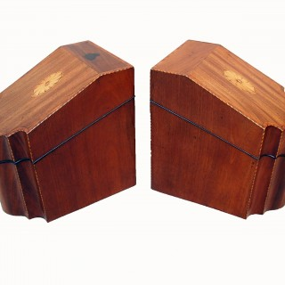 Georgian 18th Century Mahogany Pair Of Cutlery Knife Boxes