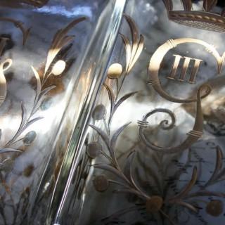 A Beautiful Pair of c.1800 Swedish Glass Flasks 'Brännvinsflaskor ' Gilt Decorated for Gustav III c.1771-92