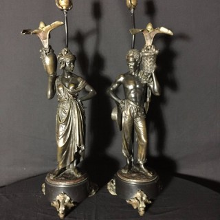Pair 19th Century Bronze Nubian lamps