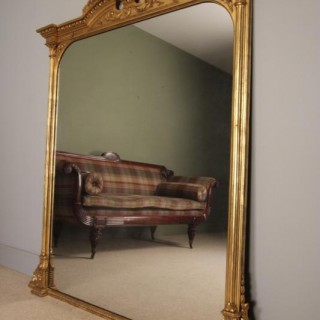 Large Impressive 19th C. Giltwood Overmantle Mirror