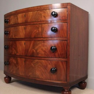 Small George IV Mahogany Bowfront Chest of Drawers