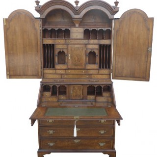 19th Century Burr Walnut Bureau Bookcase