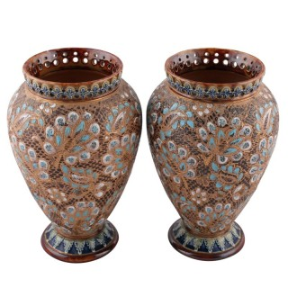 Pair of Doulton 'Salters Patent' Vases