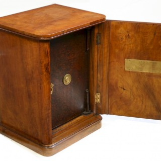 Victorian Figured Walnut Small Safe Cabinet with Safe