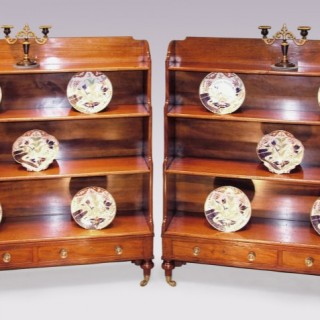 Pair of George III mahogany Waterfall Bookshelves