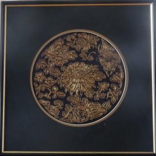 Chinese antique silk roundel