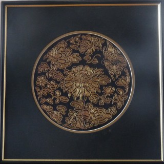 Chinese antique silk roundel
