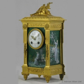 Louis XVI Style Green Enamel Mantel Clock