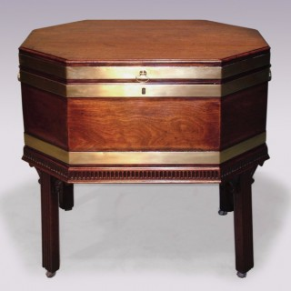18th Century Octagonal Mahogany Wine Cooler.