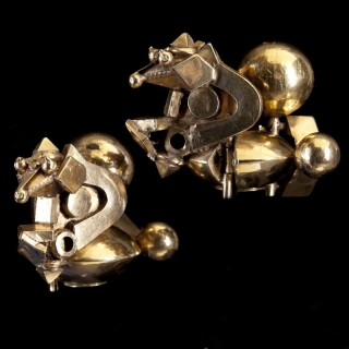 A Pair of Gold Tamil Nadu Ear Ornaments Pambadam