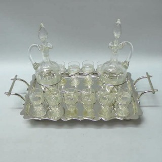 Victorian Silver Plate and Crystal Drinks Set