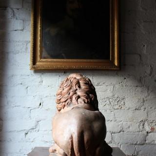 A Superb Large 19thC Italian Neoclassical Terracotta Recumbent Lion
