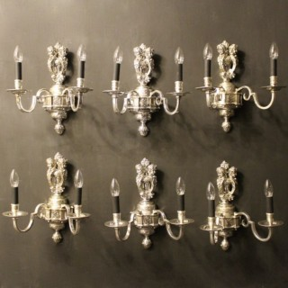 An English Set Of 6 Cherub Silver Wall Lights