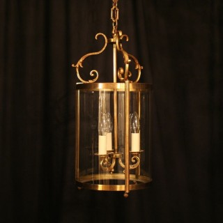 A Large French Gilded Triple Light Hall Lantern