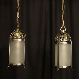An English Pair Of Small Brass Antique Lanterns