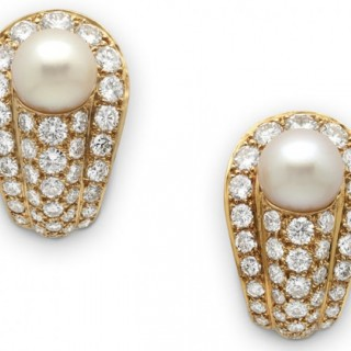 Cartier pave set diamond and pearl earclips