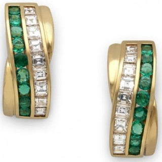 Cartier square cut diamond and emerald earclips