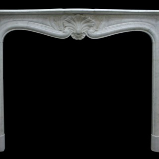 Antique 19th Century Louis XV Carara marble fireplace surround