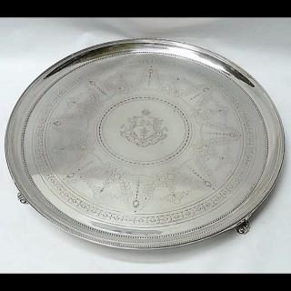 Large Victorian Silver Salver