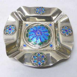 Vintage Silver and Enamel Dish