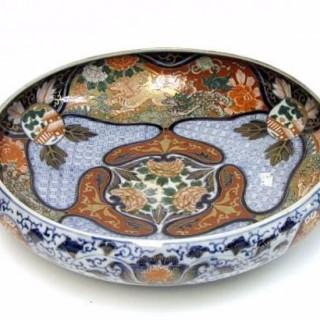 Late Meiji Period Large Porcelain Fish Bowl