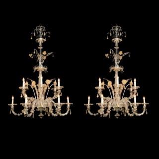 Venetian Clear Glass Twelve-Light Chandeliers