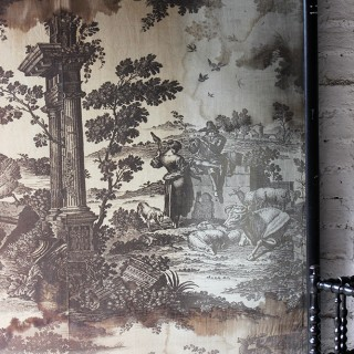 A Very Large & Beautiful Framed Mid-18thC Section of 'Toiles de Jouy' Wall Covering; 'The Old Ford' c.1761