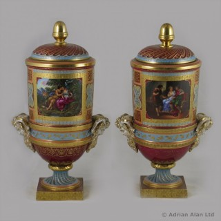 Pair of Vienna Style Covered Vases