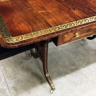 Regency period Rosewood, brass inlaid Sofa table.