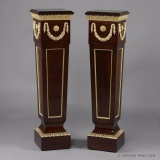 Pair of Louis XVI Style Mahogany Pedestals