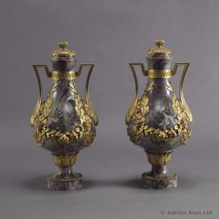 Pair Of  Fleur de Pêcher Marble Vases