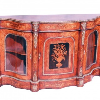 Antique 19th Century Walnut And Marquetry Credenza Side Cabinet