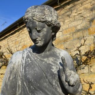 An early 20th century lead garden figure of Fidelity