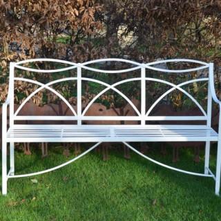 A Regency wrought iron garden bench
