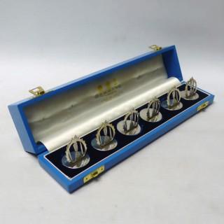 Vintage Set of Silver Menu Holders