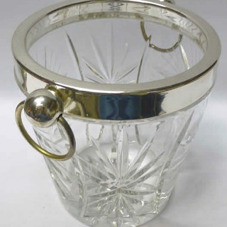 1930s Silver Plate and Glass Champagne Bucket