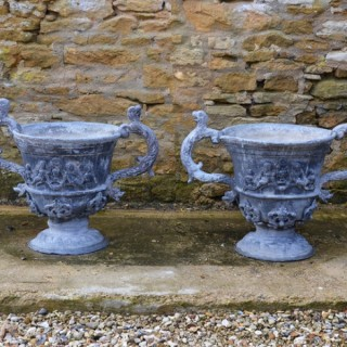 A pair of large early 20th century lead urns