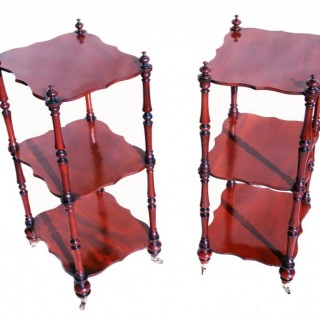 Antique 19th Century Mahogany Pair Of Whatnots, Or Etagere