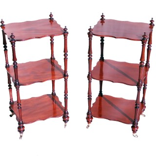 Rare Mahogany 19th Century English Pair Of Small Whatnots
